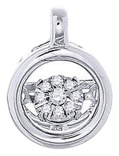 Round,Dancing,Diamond,Pendant,10k,White,Gold,Charm,Necklace,With,Chain,0.04,Ct.