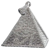 Diamond,Eye,Of,Ra,Charm,Pyramid,White,Gold,Finish,0.60,Ct,Pave,Egyptian,Pendant
