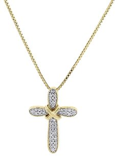 10k,Yellow,Gold,Round,Diamond,Cross,Pendant,Religious,Charm,With,Chain,.16,Ct
