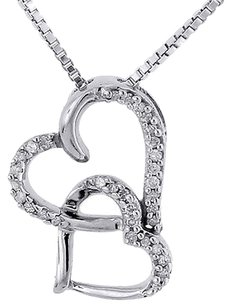 Diamond,Double,Heart,Pendant,10k,White,Gold,Charm,Necklace,With,Chain,.10,Tcw