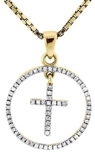 Circle,Cross,Diamond,Pendant,10k,Yellow,Gold,Round,Charm,With,Necklace,14,Ct.