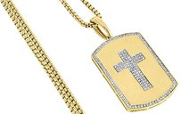 10k,Yellow,Gold,Genuine,Diamond,Cross,Centered,Dog,Tag,Charm,Pendant,0.35,Ct.