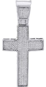 Diamond,Cross,Charm,10k,White,Gold,Mens,Jesus,Round,Cut,Fashion,Pendant,0.50,Ct.
