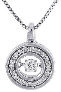 Dancing,Diamond,Circle,Pendant,Ladies,Necklace,10k,White,Gold,With,Chain,14,Ct.