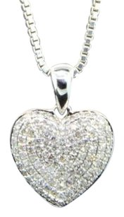 Diamond,Heart,Pendant,10k,White,Gold,0.45,Ct,Domed,Love,Charm,With,Chain
