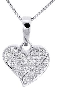 10k,White,Gold,Round,Cut,Diamond,Love,Charm,Heart,Pendant,18,Necklace,0.20,Ct.