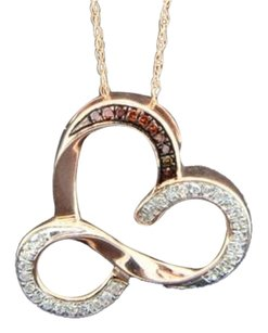 Red,Diamond,Heart,Pendant,10k,Rose,Gold,0.13,Ct,Fancy,Open,Design,With,Chain