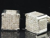 Jewelry For Less Princess Cut Diamond Earrings 10k White Gold 3d Square Cube Studs 2.10 Ctw.