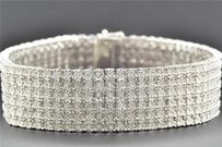 Jewelry For Less Row Diamond Bracelet .925 Sterling Silver Mens White Finish Round Cut Inch