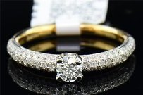 Diamond Solitaire Wedding Ring Ladies 14k Yellow Gold Round Engagement Band