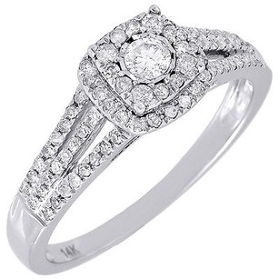 Diamond Engagement Ring Ladies 14k White Gold Wedding Round Solitaire 0.36 Tcw.
