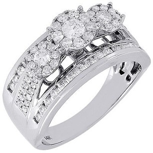 Diamond Wedding Engagement Ring 14k White Gold Solitaire Three Stone 1 Tcw.