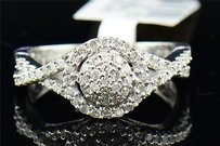Diamond Engagement Ring 10k White Gold Pave Round Cut 0.54 Ct Domed
