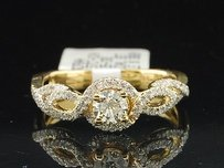 Round Solitaire Diamond Infinity Engagement Ring W Halo 14k Yellow Gold 0.57 Ct