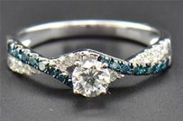 Round Solitaire Diamond Engagement Ring 14k White Gold Blue Infinity Band .75 Ct