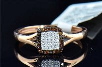 Red White Diamond Engagement Ring Halo Round Cut Pave 10k Rose Gold