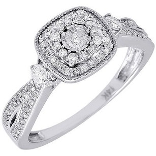 Diamond Engagement Ring 14k White Gold Ladies Wedding Round Solitaire 0.41 Tcw.