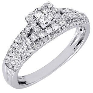 Diamond Engagement Ring Ladies 14k White Gold Princess Cut Wedding Band .48 Tcw.