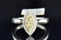 Natural Yellow Diamond Engagement Ring 14k White Gold Marquise Shape 12 Ct