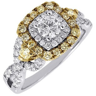 Yellow Diamond Square Halo Engagement Ring Ladies Wedding 14k White Gold 1.02 Ct