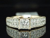 Princess Solitaire Diamond Engagement Ring 14k Yellow Gold Round Cut 1.50 Ct