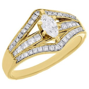 Marquise Solitaire Diamond Engagement Wedding Ring 14k Yellow Gold 0.51 Ct.