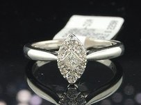 14k White Gold Princess Solitaire Round Diamond Marquise Design Engagement Ring