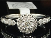 14k White Gold Round Cut Solitaire Diamond Wedding Engagement Ring 0.80 Ct.