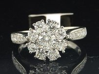Ladies 14k White Gold Flower Set Diamond Engagement Ring Bridal Set .1.51 Ct.