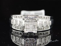 Diamond Engagement Ring .925 Sterling Silver Princess Round Baguette Cut 12 Ct