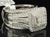 14k Ladies White Gold 2 Ct. Princess Cut Diamond Engagement Ring Bridal Set Wrap