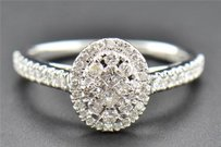 Diamond Engagement Ring 14k White Gold Princess Round Cut Oval Style 0.52 Ct