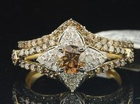 Ladies 10k White Gold Brown Solitaire Diamond Engagement Ring Bridal Set 1.33ct.