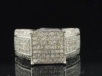 Diamond Engagement Ring Ladies .925 White Gold Finish Pave Square Design 0.97 Ct