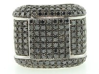 Black Diamond Domed Statement Ring Sterling Silver Round Fashion Band 4.69 Ct.