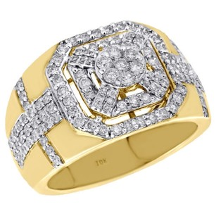 10k Yellow Gold Genuine Diamond Pinky Ring Octagon Halo Frame Cluster Band Ct.