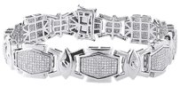 Diamond,Statement,Bracelet,Mens,White,Gold,8.5,Pave,Link,Round,Cut,2.15,Ct.