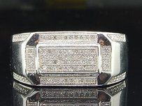 Diamond Pinky Ring Mens 10k White Gold Round Pave Designer Band 0.26 Tcw.