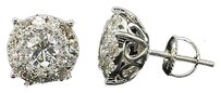 Mens,Ladies,14k,White,Gold,Solitaire,Halo,Round,Cut,Diamond,Studs,Earrings,2,Ct.