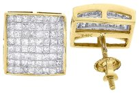 Princess,Cut,Diamond,Studs,Mens,Ladies,14k,Yellow,Gold,Square,Earrings,1.21,Ct.