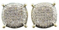 Diamond,3d,Circle,Earrings,10k,Yellow,Gold,Pave,Round,Cut,0.62,Ct,Studs
