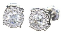 Solitaire,Diamond,Stud,14k,White,Gold,Round,Cut,1,Ct,Halo,7.5mm,Earrings