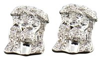 Diamond,Studs,Sterling,Silver,Jesus,Face,Earrings,In,White,Gold,Finish,.20,Ct