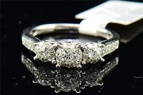Diamond Engagement Wedding Ring Ladies 14k White Gold Three Stone Design 0.52 Ct