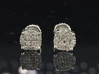 Jewelry For Less Unisex Diamond Studs 10k White Gold Round Cut Prong Setting 0.26 Ct Earrings