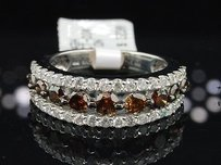 Jewelry For Less White Gold Brown Round Cut Diamond Wedding Fashion Band Cocktail Ring 1.95 Ct.