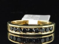 10k Yellow Gold Black Diamond Wedding Band Designer Engagement Ring 0.51 Ct