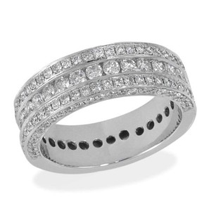 Round Diamond Wedding Anniversary Band Mens 14k White Gold 3.00 Ct.