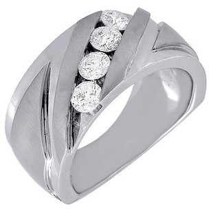 Diamond Band 4 Stone 14k White Gold Brushed Finish Round Cut Mens Ring 0.99 Tcw.