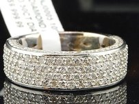 Diamond Wedding Band Mens 10k White Gold Round Cut Pave Engagement Ring 3.50 Ct.
